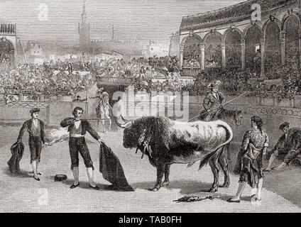 A bullfight in Seville, Spain in the late 19th century.  The matador prepares to kill the bull.  From La Ilustracion Iberica, published 1884. - Stock Image