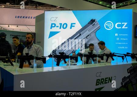 February 18, 2019 - Abu Dhabi, UAE: CZ Bren Gun display - Stock Image
