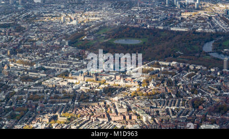 Aerial View of Hyde Park, Kensington Palace and Knightsbridge, London from the southeast. - Stock Image