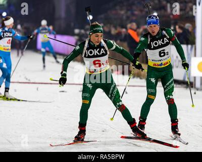 L-R: Dorothea Wierer (ITA), Lukas Hofer (ITA). JOKA Biathlon World Team Challenge 2018 auf Schalke. - Stock Image