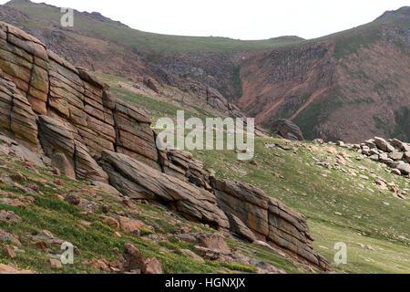 Slump block granite Pikes Peak National Park ridge Colorado Rocky Mountain - Stock Image