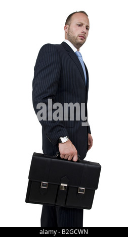 businessman with briefcase on isolated background - Stock Image