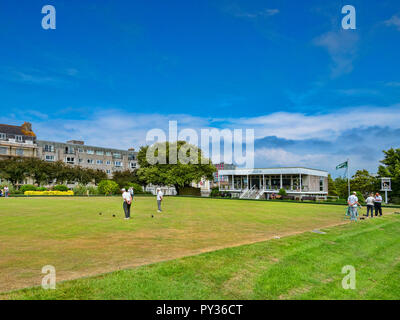 8 June 2018: Plymouth, Devon, UK - Plymouth Hoe Bowling Club. - Stock Image