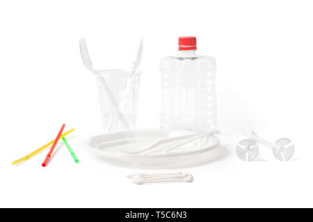 Disposable and for take away plastic cutlery and parts for single use. Objects isolated on white and with working paths. - Stock Image