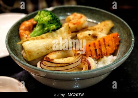 Seafood Steak Don Japanese Recipe. (Selective Focus) - Stock Image