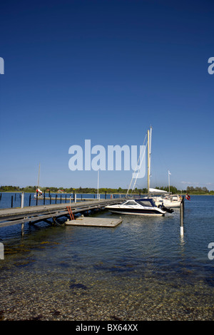 Pleasure boats moored at Fyns Hoved  (Funen's Head), Funen, Denmark, Danish, boat, boating, nautical, rigging, - Stock Image