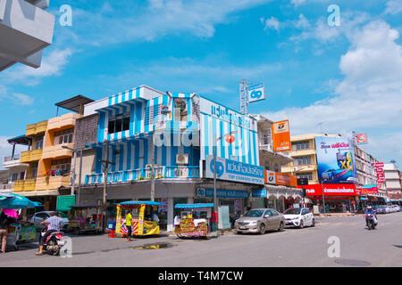 Talad Mai Road, main thoroughfare, Surat Thani, Thailand - Stock Image