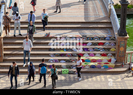 Fans and other items for sale Plaza de Espana, Seville, Spain - Stock Image