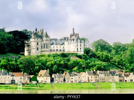 The village and Chateau of Chaumont sur Loire on the River Loire in Loir et Cher region of France - Stock Image