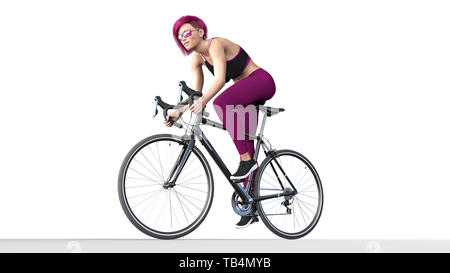Girl with purple hair on bicycle, athletic woman in sports outfit riding a bike on white background, 3D rendering - Stock Image