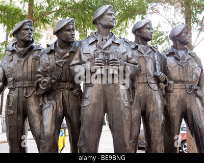 Royal Tank Regiment Memorial by Vivien Mallocks at junction of Whitehall Court and Whitehall Place London England - Stock Image