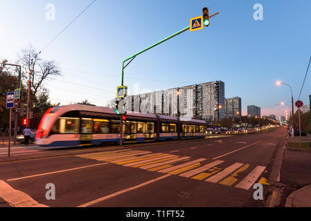 Russia, Moscow - October 15, 2018: Modern city tram perspective rear view - Stock Image