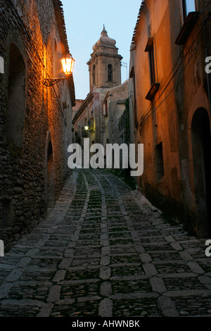 Photo by Marc F Henning Erice at dusk in Sicily Italy - Stock Image