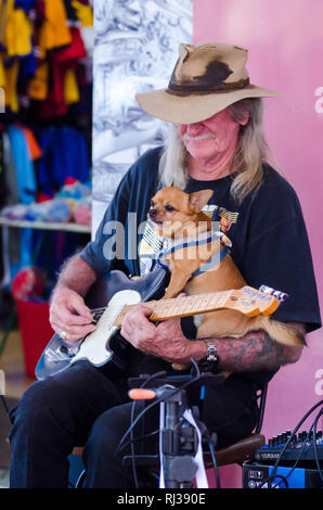 Guitar player Doug Alexander and his dog busking at Tamworth Country Music Festival 2019. - Stock Image