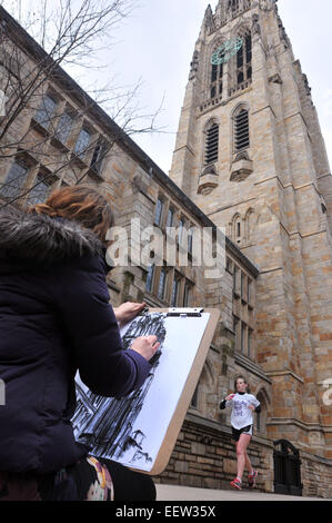 New Haven CT USA-- Marisa Kaugaris, a Yale sophomore studying architecture, works on a drawing of Harkness Tower - Stock Image