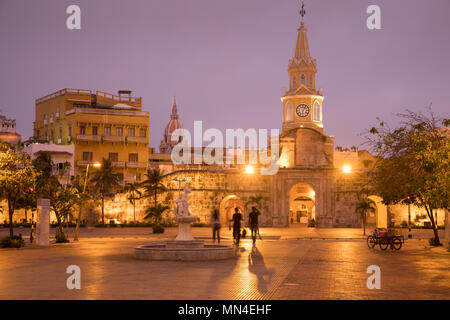 Plaza de la Paz and the Old Town at dawn, Cartagena, Colombia - Stock Image