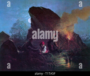 Working by moonlight and flaming torch, fishermen spear fishing at night from a boat in 19th Century, Sweden. - Stock Image