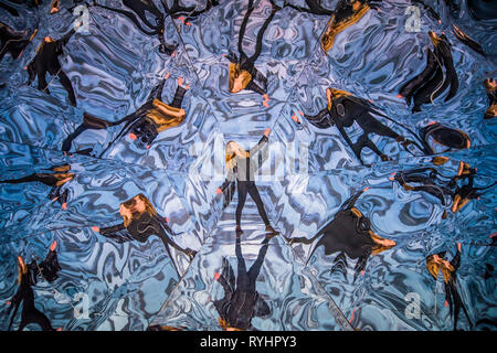 London, UK. 14th Mar 2019. Fata Morgana, 2012, by Laura Buckley - Saatchi Gallery presents KALEIDOSCOPE, a new exhibition featuring the work of 9 international contemporary artists working across a variety of mediums, including Laura Buckley's interactive large-scale kaleidoscope Fata Morgana. Credit: Guy Bell/Alamy Live News - Stock Image