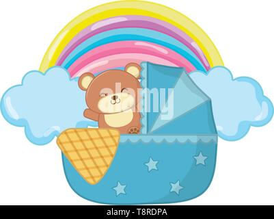 cradle with toy bear and a blanked with cloud and rainbow vector illustration graphic design - Stock Image