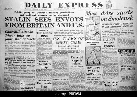 'Stalin Sees Envoys from Britain and U.S.'   front page headlines of the Daily Express newspaper August 12 1943 London UK - Stock Image