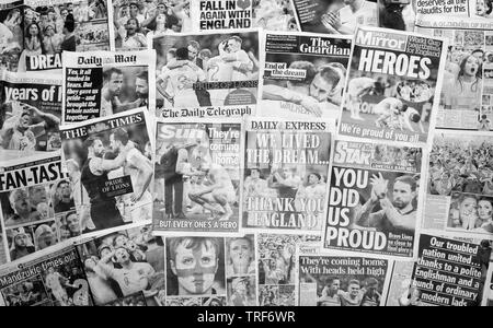 British newspaper front pages reporting on England's World Cup defeat after losing 2-1 in the semi-finals against Croatia. - Stock Image