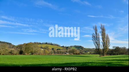 Devon countryside view with rolling green hills, trees and houses in distance of Bickleigh, Tiverton, UK - Stock Image