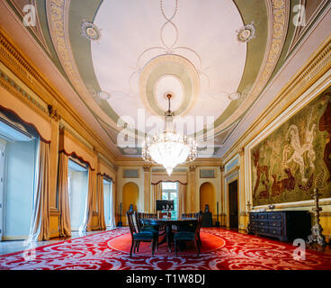 Dining hall at Palacio da Cidade, in Botafogo, Rio de Janeiro, Brazil is the ex-Embassy of the UK and now a municipal building for the city - Stock Image