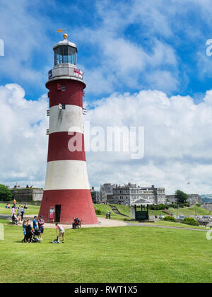 2 June 2018: Devon, UK - Smeaton's Tower is the third Eddystone Lighthouse, built by John Smeaton, which was dismantled and rebuilt on Plymouth Hoe as - Stock Image