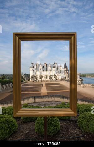 France, Indre et Loire, Loire valley listed as World Heritage by UNESCO, Amboise, Amboise castle, the castle of Amboise from the interior courtyard and the garden of Naples - Stock Image