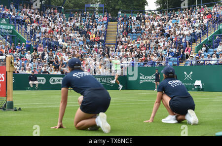 Eastbourne, UK. 24th June, 2019. John Millman of Australia in action during his defeat to Fernando Verdasco of Spain in their match at the Nature Valley International tennis tournament held at Devonshire Park in Eastbourne . Credit: Simon Dack/Alamy Live News - Stock Image