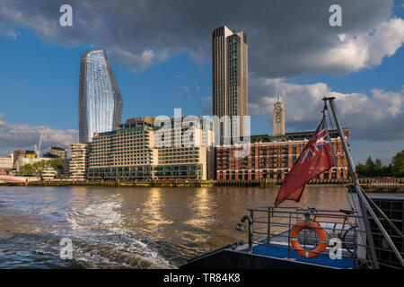 Sea Containers Hotel Complex, Bank Towers, Cityscape River Thames, Oxo Tower & Wharf, One Blackfriars 'The Vase'  from RB1 Boat SouthBank London UK - Stock Image
