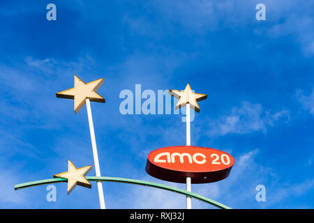 AMC 20, sign with stars; Santa Clara, California, USA - Stock Image