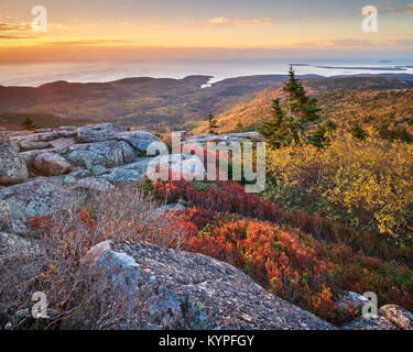 Autumn sunrise on Cadillac Mountain in Acadia National Park in Maine - Stock Image
