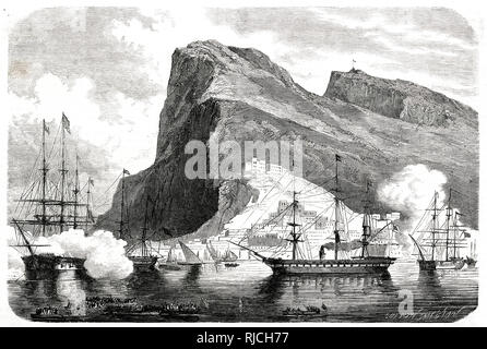 As Maximilian's ship passes on his way to Veracruz to become Emperor of Mexico, the English garrison at Gibraltar fires a salute under the orders of Queen Victoria to celebrate. - Stock Image