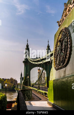 Towers and end anchorage at Hammersmith Bridge, London, UK - Stock Image