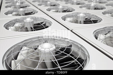 Group of air conditioner units. 3D illustration. - Stock Image