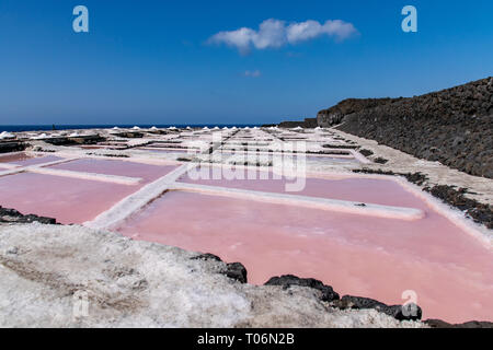 Colors during the salination evaporation process in the salt fields of Fuencaliente, La Palma Island, Canary Islands, Spain - Stock Image