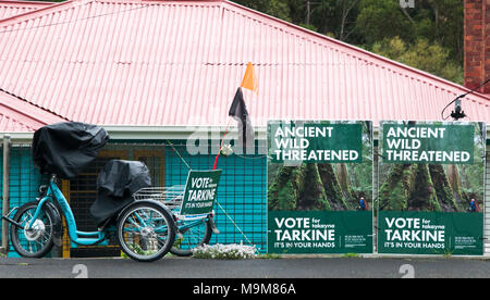 Conservationist political posters displayed in Hobart, Tasmania, Australia - Stock Image