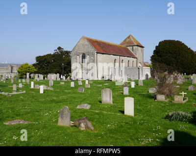 The Anglican church of St Mary's Portchester, within the grounds of Portchester Castle, Hampshire, England - Stock Image
