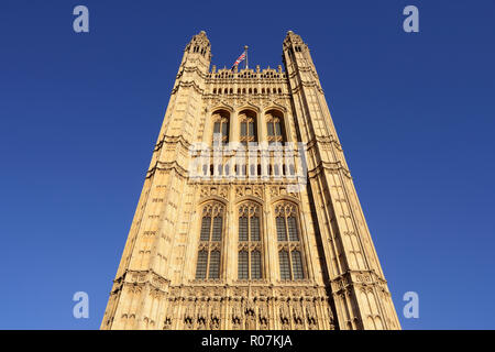 Victoria Tower, Houses of Parliament, Palace of Westminster, London, England, United Kingdom - Stock Image
