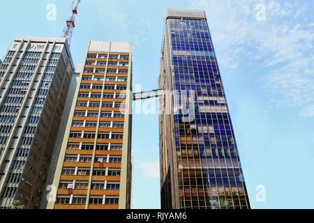 Modern architecture in Paulista Av. Edificio Gazeta with the communication tower. City of Sao Paulo, Brazil - Stock Image