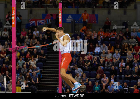 Glasgow, UK: 2st March 2019: Pawel Wojciechowski wins gold and Piotr Lisek silver in Pole Vault on European Athletics Indoor Championships 2019.Credit: Pawel Pietraszewski/ Alamy News - Stock Image
