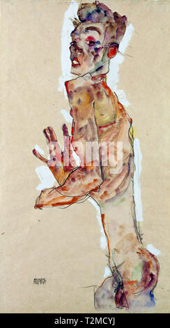 Egon Schiele (1890–1918), Self-Portrait with Splayed Fingers, 1911 - Stock Image