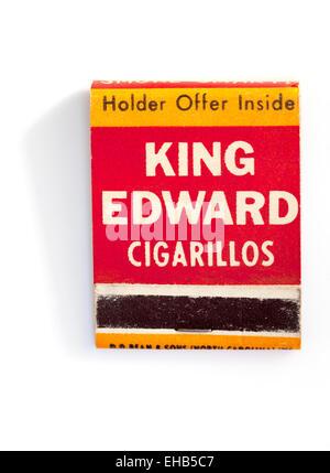Vintage Matchbook Advertising King Edward Cigarillos - Stock Image