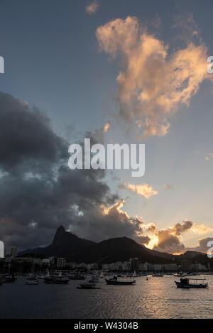 View from Urca to Corcovado Mountain, Rio de Janeiro, Brazil - Stock Image