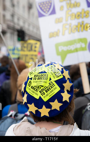 European Union beret with stickers on it, People's Vote March, London, England - Stock Image
