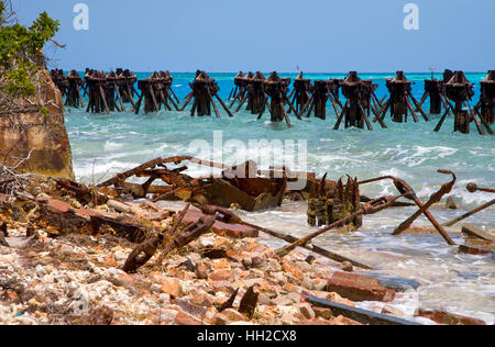 Dry Tortugas National Park - rows of decaying coaling dock pilings march along the waters edge of Garden Key - Stock Image