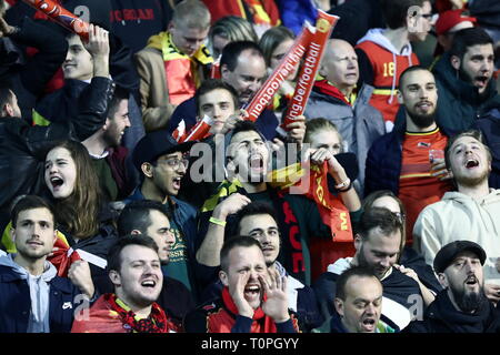 BRUSSELS, BELGIUM – MARCH 21, 2019: Belgium's supporters cheer in their UEFA Euro 2020 qualifying football match against Russia at King Baudouin Stadium. Anton Novoderezhkin/TASS - Stock Image