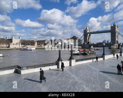 Tower Bridge & the Tower of London - River Thames, London, England, UK - Stock Image