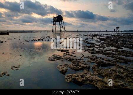 Vietnam, province of Tien Giang, Go Cong, the beach, stilt fishing house - Stock Image